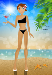 Woman with drink on the beach