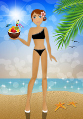 Woman with coconut cocktail on the beach