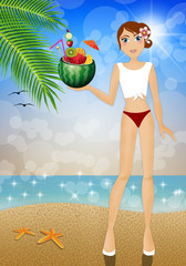 Girl with watermelon with fruits