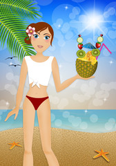 Woman in bikini with pineapple