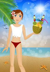 Woman in bikini with pineapple