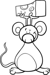 cute mouse with cheese coloring page
