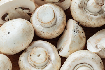 Food. Fresh white mushrooms champigonons