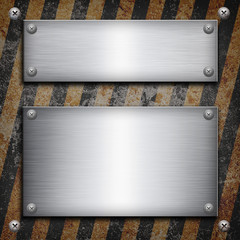 Industrial grungy steel plate with black and yellow strip under