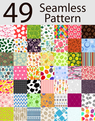 Seamless Pattern 49 Set Vector Illustration
