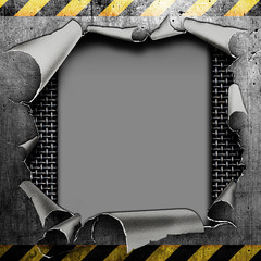 Industrial grungy steel plate with black and yellow strip and ho