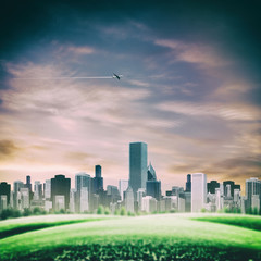 futuristic backgrounds with modern urban buildings and flying je