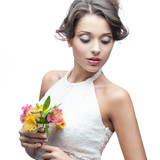 sensual young woman with flower