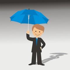 Hombre con un paraguas fondo gris