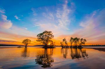 Beautiful Sunset Landscape with reflection