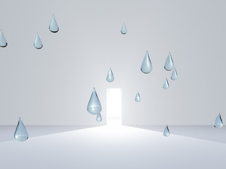 Open door in white room with drops of pure water