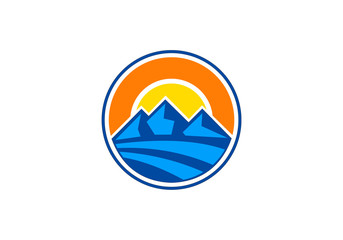 abstract mountain and sun emblem logo