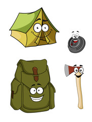 Set of cartoon camping and hiking icons