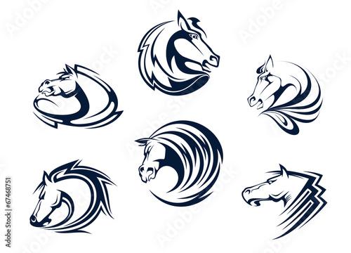 Fototapeta Horse mascots and emblems