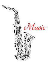 Saxofón con las notas musicales