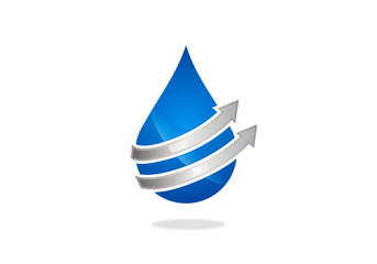 water drop and arrow vector logo