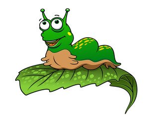 Green cartoon caterpillar insect