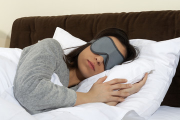 Sleeping in sleep mask.