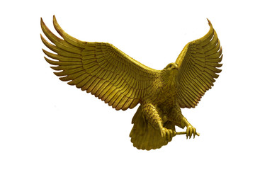 Golden eagle statue with big expanded wings