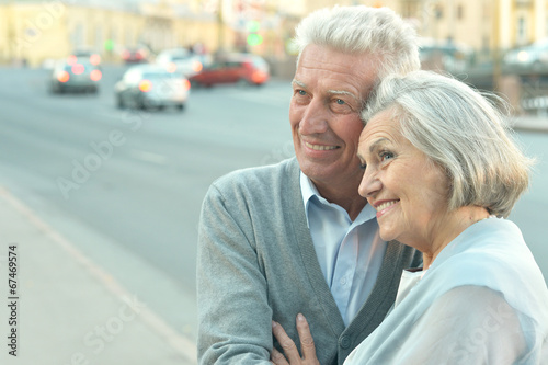 canvas print picture Couple in town