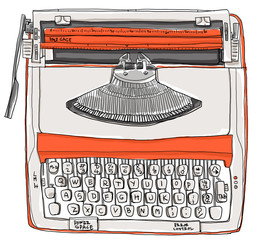 Typewriter two tone cream orange vintage