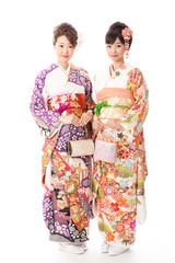 japanese kimono women on white background