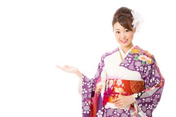 japanese kimono woman on white background