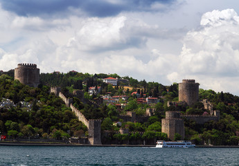 tower Rumelian Castle on a hill of the Bosphorus.