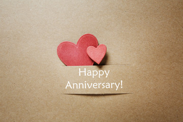 Happy Anniversary message with small hearts