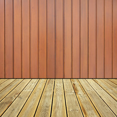 Wooden deck floor and wall