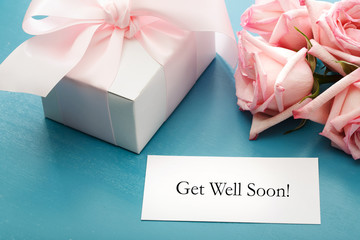 Get Well Soon card with gift