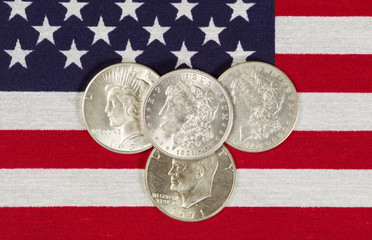 American Silver Dollars and USA Flag