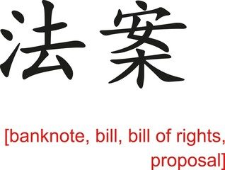 Chinese Sign for banknote, bill, bill of rights, proposal