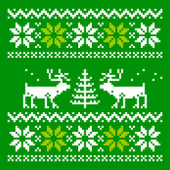 Knitted scandinavian scarf with deer
