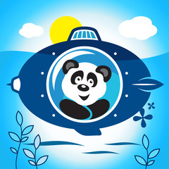 Panda on a submarine