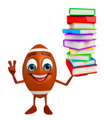 Rubgy ball character with Books pile