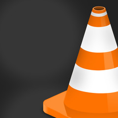 Dark background of traffic cone