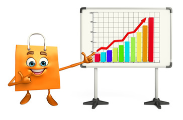 Shopping bag character with business graph