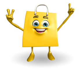 Shopping bag character with victory sign