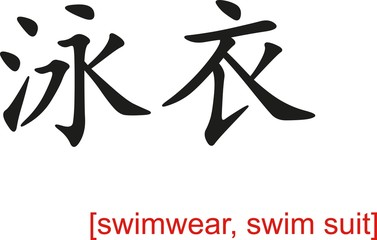 Chinese Sign for swimwear, swim suit