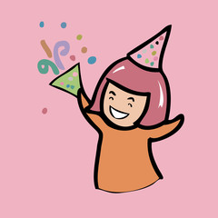 Cheerful girl with party hat cartoon