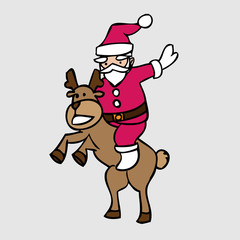 Santa and jumping deer