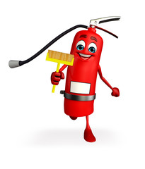 Fire Extinguisher character with Cleaning mop