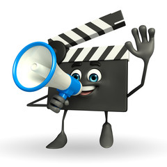 Clapper Board Character with loudspeaker
