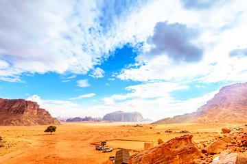 Scenic Wadi Rum in Jordan viewed from Lawrence's Spring