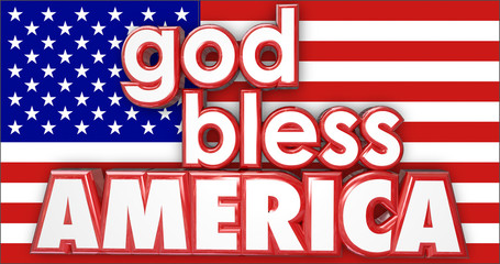 God Bless America United States USA Flag 3d Words