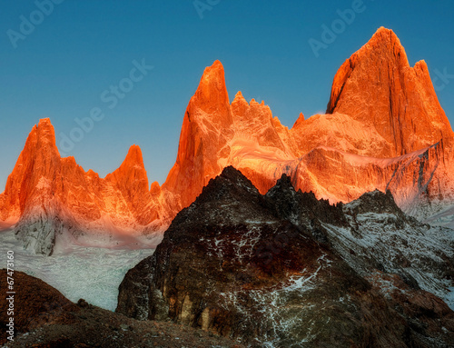 canvas print picture Fitz Roy in der Abendsonne