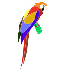 Cartoon animal - parrot - flat coloring style
