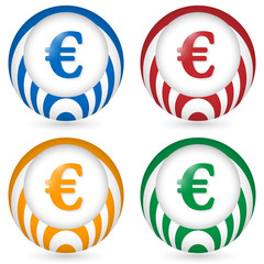 set of four icon with euro symbol