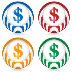 set of four icon with dollar symbol